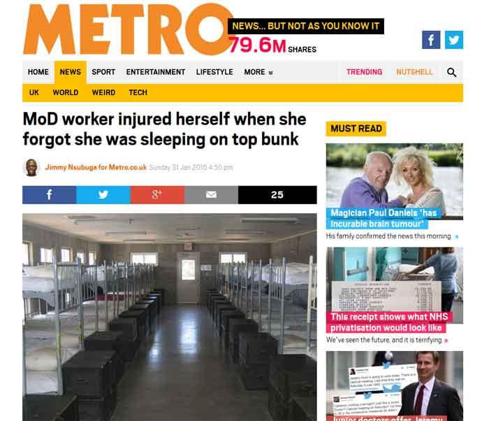 London Metro Website - Personal Injury Solicitors